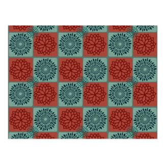 Patchwork Quilt Pattern Red Blue Flower Art Design Postcard