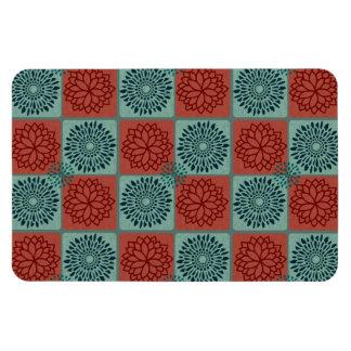 Patchwork Quilt Pattern Red Blue Flower Art Design Flexible Magnets