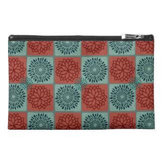 Patchwork Quilt Pattern Red Blue Flower Art Design Travel Accessories Bags