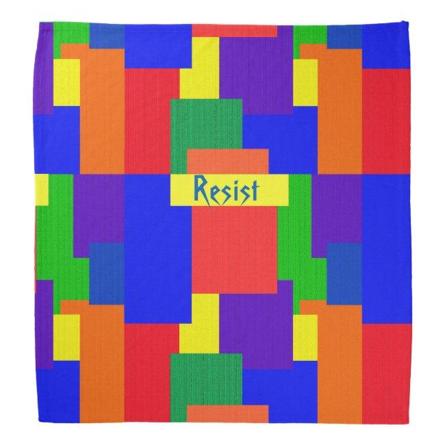 Patchwork Quilt Rainbow Resist Design Bandana