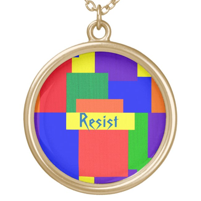 Patchwork Quilt Rainbow Resist Design Necklace