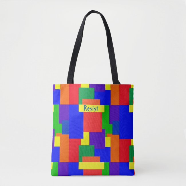 Patchwork Quilt Rainbow Resist Design Tote Bag