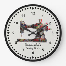 Patchwork Quilt Sewing Machine Wall Clock at Zazzle