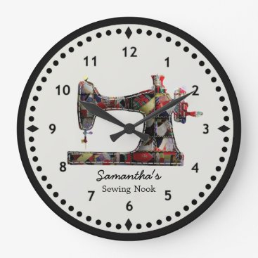 ClockORama Patchwork Quilt Sewing Machine Wall Clock