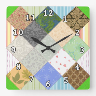 Patchwork Quilt Square Wall Clock
