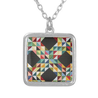 patchwork quilt - WOWCOCO Square Pendant Necklace