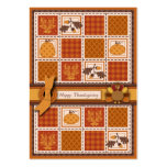 Patchwork Quilted-look Thanksgiving Business Card Templates