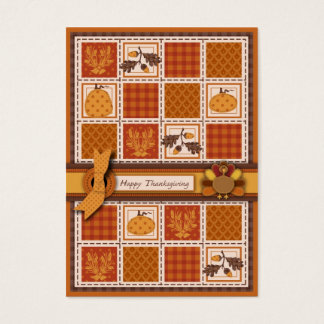 Patchwork Quilted-look Thanksgiving Business Card