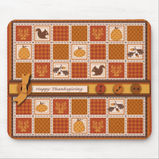 Patchwork Quilted-look Thanksgiving Mouse Pad