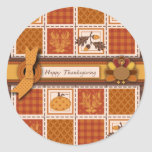 Patchwork Quilted-look Thanksgiving Sticker