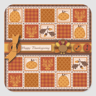 Patchwork Quilted-look Thanksgiving Square Stickers