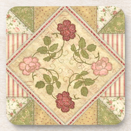 Patchwork Quilted Roses Coaster Set of 6