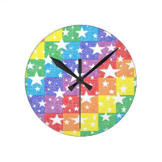 Patchwork Rainbow and Stars Clock