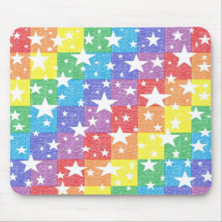 Patchwork Rainbow and Stars Mousepad