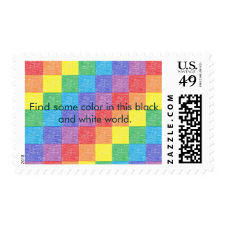Patchwork Rainbow with a quote Postage Stamps