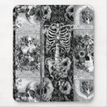 Patchwork, skull collage mouse pad