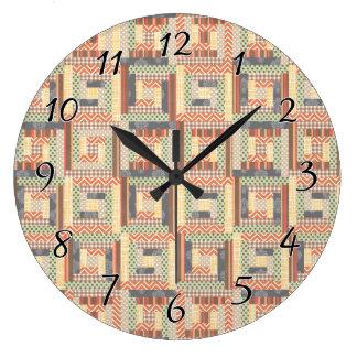 Patchwork Squares Large Clock