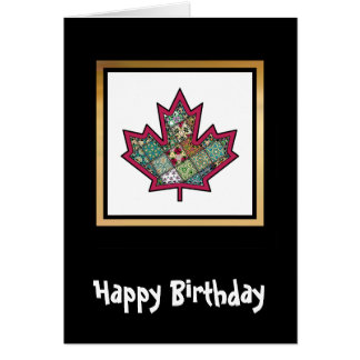 Patchwork Stitched Maple Leaf 01 Card