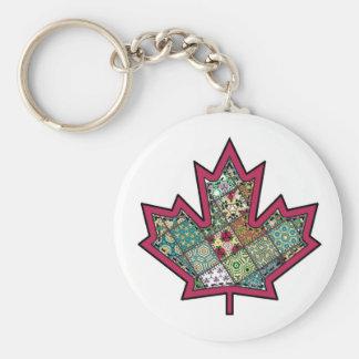 Patchwork Stitched Maple Leaf 01 Keychain