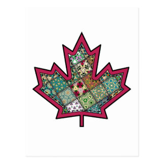 Patchwork Stitched Maple Leaf 01 Postcard