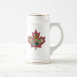 Patchwork Stitched Maple Leaf  2 Beer Stein