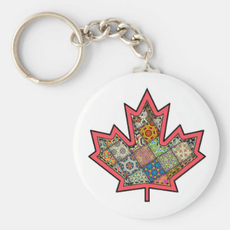 Patchwork Stitched Maple Leaf  2 Key Chains