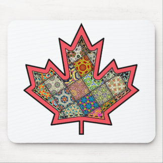 Patchwork Stitched Maple Leaf  2 Mouse Pad