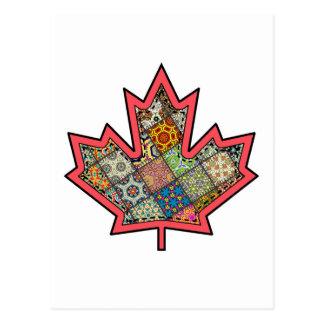 Patchwork Stitched Maple Leaf  2 Postcard