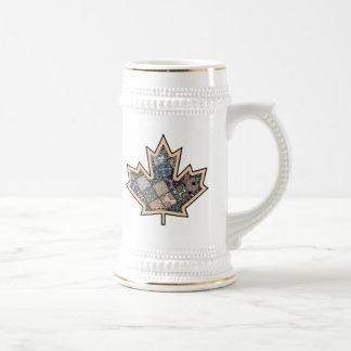 Patchwork Stitched Maple Leaf  3 Beer Stein