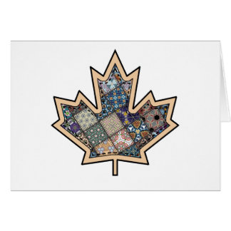 Patchwork Stitched Maple Leaf  3 Card