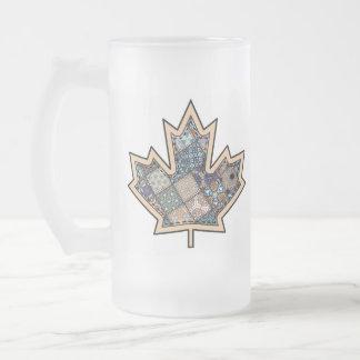 Patchwork Stitched Maple Leaf  3 Mugs