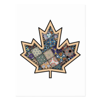 Patchwork Stitched Maple Leaf  3 Postcard