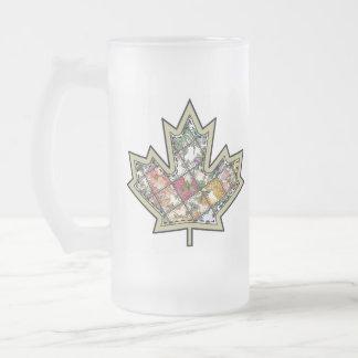 Patchwork Stitched Maple Leaf  4 Frosted Glass Beer Mug
