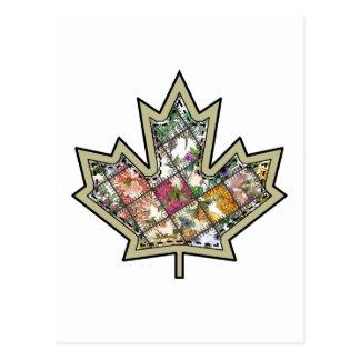Patchwork Stitched Maple Leaf  4 Postcards