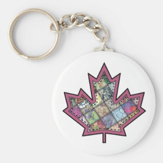 Patchwork Stitched Maple Leaf  5 Keychain