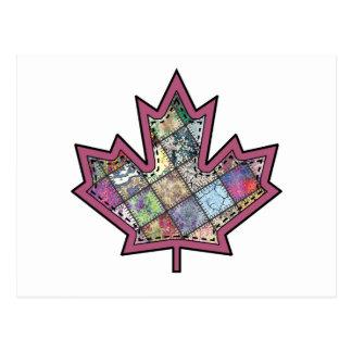 Patchwork Stitched Maple Leaf  5 Postcard