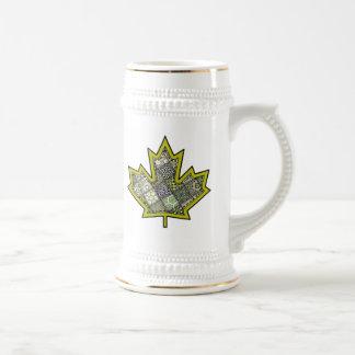 Patchwork Stitched Maple Leaf  6 Beer Stein