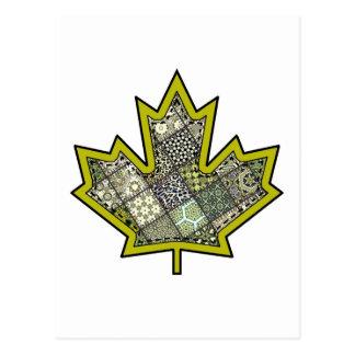 Patchwork Stitched Maple Leaf  6 Postcard