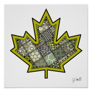 Patchwork Stitched Maple Leaf  6 Poster