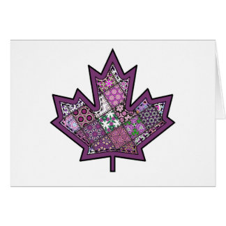 Patchwork Stitched Maple Leaf  7 Card