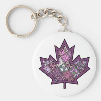 Patchwork Stitched Maple Leaf  7 Keychain