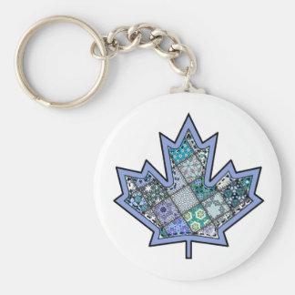 Patchwork Stitched Maple Leaf  8 Keychain