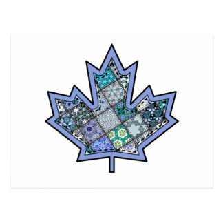 Patchwork Stitched Maple Leaf  8 Postcard