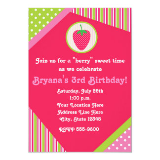Patchwork Strawberry Girls Cute Party Invitation
