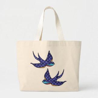 patchwork swallows white bag
