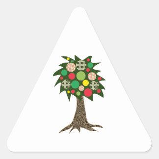 Patchwork Tree Triangle Sticker
