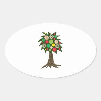 Patchwork Tree Oval Sticker