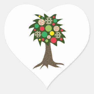 Patchwork Tree Heart Sticker