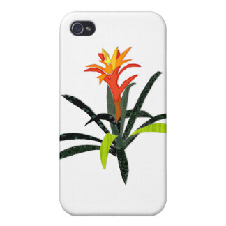 Patchwork Tropical Bromeliad Cases For iPhone 4
