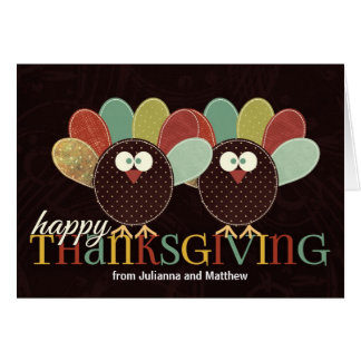 Patchwork Turkey Couple for Thanksgiving Card